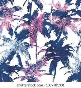 Beautiful trendy seamless exotic pattern with palm and tropical plants. Modern abstract design for paper, wallpaper, cover, fabric and other users. Vector illustration.