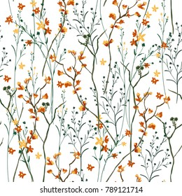 Beautiful and trendy Seamless Pattern wind blow flowers,  Isolated on summer white color. Botanical Floral Decoration Texture. Vintage Style Design for Fabric Print, Wallpaper Background.