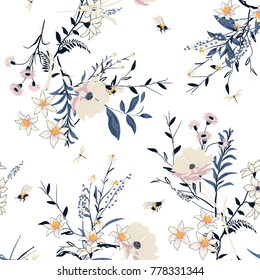 Beautiful Trendy  vector Floral pattern in the many kind of flowers. Botanical  Motifs scattered random. Seamless vector texture. For fashion prints. Printing with in hand drawn style on white.