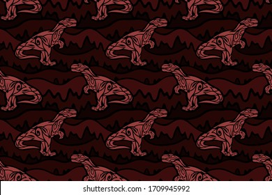 Beautiful tribal vector seamless pattern with pink predatory dinosaur silhouettes on the bloody brown background