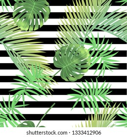 Beautiful tropical abstract color and green palm leaves seamless vector pattern on a background of geometric diagonal black and white lines