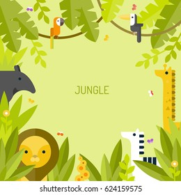 Beautiful tropical background. Jungle. Vector flat illustration.