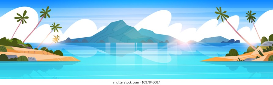 Beautiful Tropical Beach Landscape Summer Seaside With Palm Tree And Silhouette Mountains Horizontal Banner Flat Vector Illustration