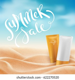 Beautiful tropical beach with sunlight background, summer holiday concept. Summer sale hand drawn lettering. Vector illustration with realistic sand and clouds.