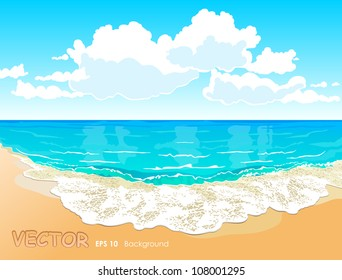 Beautiful tropical beach with a wave