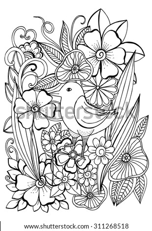 Beautiful Tropical Bird Magical Garden Coloring Stock Vector
