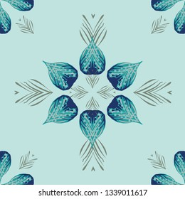Beautiful, tropical decorative seamless pattern. Great background for beach wedding invitations, textiles and fashion. Polynesian island vibe with coastal turquoise, teal and moss green.   Vector.