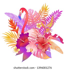 Beautiful tropical exotic flamigo bird. Vector illustration.