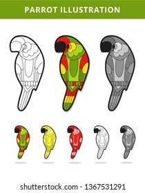 Beautiful tropical exotic parrot bird. Colorful and monochrome parrot drawing. Vector illustration - Vector