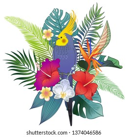 Beautiful tropical exotic parrot bird in flowers. Vector illustration.