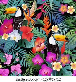 Beautiful tropical exotic parrot birds and jungle flowers. Vector seamless pattern.