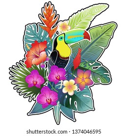 Beautiful tropical exotic toucan bird in flowers. Vector illustration.