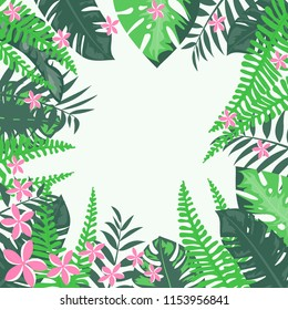 Beautiful tropical frame with flowers and leaves. Jungle. Summer floral background.