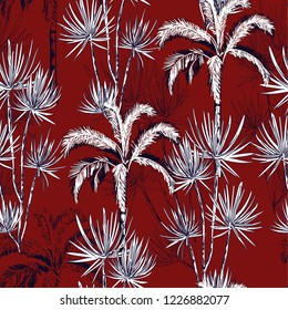 Beautiful tropical hand drawn doodle line sketch plam and coconut trees ,island design fot fashion,fabric, and all prints on maroon background color