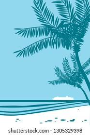 Beautiful tropical landscape with palms silhouettes and cruise ship on a horizon. Retro style drawing.