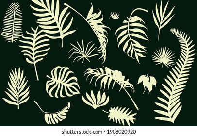 Beautiful tropical leaves on the background of a leopard texture. Isolated from the background. Vector craft