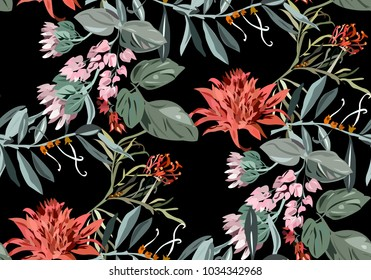 Beautiful tropical pattern with exotic flowers and leaves. Seamless colorful pattern with exotic plants. Hawaii background with Asian plants. Vintage background with Japanese flowers.