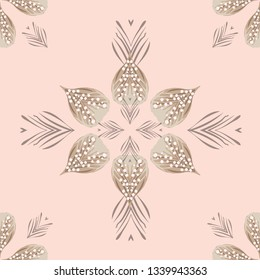 Beautiful, tropical repeat seamless pattern with natural elements and  loose pearls. Great for beach wedding invitations, textiles and fashion. Polynesian island vibe with blush pink and soft browns.