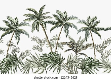 Beautiful tropical summer vintage palm trees floral seamless border on the white  background.. Exotic jungle wallpaper.