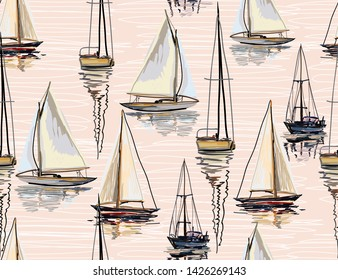 Beautiful tropical vector seamless pattern background with sailboat silhouettes. The Summer beach surfing illustration.