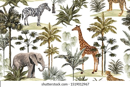 Beautiful tropical vintage hawaiian palm trees, zebra, giraffe, elephant, leopard. Hand drawn floral seamless pattern on the white background. Exotic jungle wallpaper.