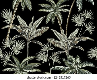 Beautiful tropical vintage palm trees seamless pattern on black  background. Exotic jungle wallpaper. Exotic botanical jungle wallpaper