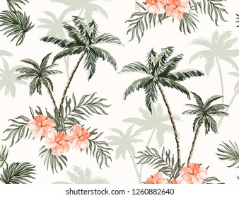 Beautiful tropical vintage palm trees and cheetah floral seamless pattern white background. Exotic jungle wallpaper with coconut palms, coral hibiscus. Isolated on white background.