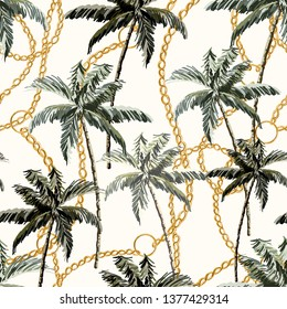 Beautiful tropical vintage palm trees and cheetah floral seamless pattern white background. Exotic jungle wallpaper with coconut palms, chains. Isolated on white background.