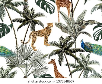 Beautiful tropical vintage palm trees and cheetah floral seamless pattern white background. Exotic jungle wallpaper with palms. Isolated on white background.