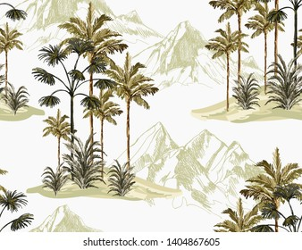 Beautiful tropical vintage palm trees and cheetah floral seamless pattern white background. Exotic jungle wallpaper. Isolated on white background.