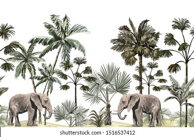 Beautiful tropical vintage palm trees and floral seamless pattern elephant white background. Exotic jungle wallpaper. Isolated on white background.