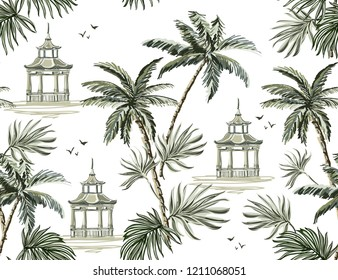 Beautiful tropical vintage seamless pattern with palm trees, pavilion and cheetah floral seamless summer pattern isolated on white  background. Exotic jungle wallpaper.