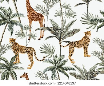 Beautiful tropical vintage seamless pattern with palm trees, leopard, giraffe and cheetah floral seamless summer pattern isolated on white background. Exotic jungle wallpaper.