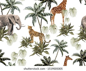 Beautiful tropical vintage seamless pattern background with palm trees, leopard, elephant, giraffe. Isolated on white background. Exotic jungle wallpaper.