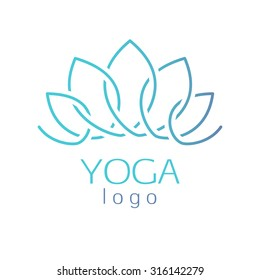 Beautiful turquoise outline abstract lotus flower logo template sign. Good for spa, yoga center, beauty salon and medicine designs.
