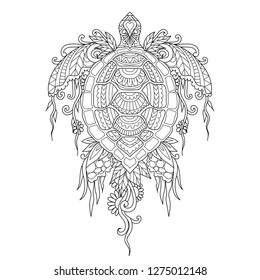 Beautiful turtle with corals and seaweed on body for design element and coloring book,coloring page or colouring picture. Vector illustration