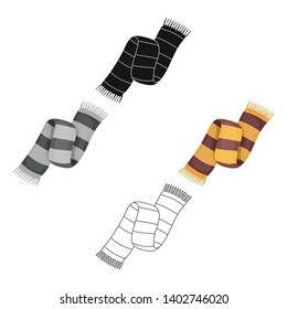 Beautiful two-tone scarf.Scarf with her ropes on the ends.Scarves and shawls single icon in cartoon,black style vector symbol stock illustration.