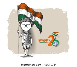 Beautiful typography of vande matram with boy hand holding indian flag isolated on white background