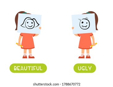Beautiful and ugly antonyms word card vector template. Flashcard for english language learning. Opposites concept. A little girl is holding a beautiful drawing in front of her face, a child has drawn