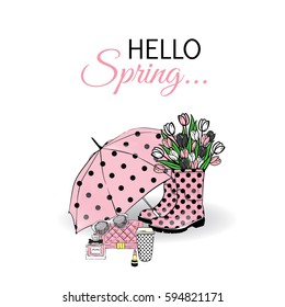 Beautiful umbrella, rubber boots with tulips, bag and lipstick. Vector illustration for a card or poster. Print on clothes. Spring. Fashion & Style.