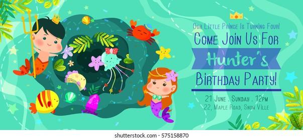 beautiful under the sea birthday invitation card with cute merman and mermaid