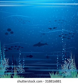 Beautiful Underwater Landscape. Vector Art Ready for Your Text and Design.