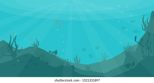 a beautiful underwater scene; a vector seascape with reef; a marine sea bottom silhouette with seaweed, algae and coral; hand drawn realistic ocean background