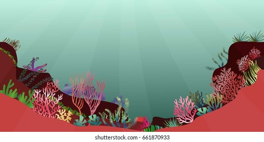 a beautiful underwater scene; a vector seascape with reef; a marine sea bottom silhouette with seaweed, algae and coral; hand drawn ocean background