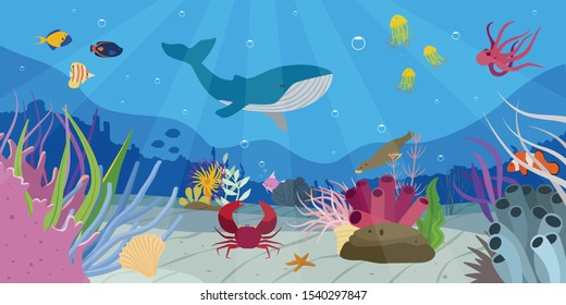 Beautiful underwater world scene with whale different fish crab starfish octopus seal flat vector illustration