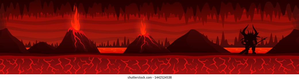 Beautiful unending burning hell landscape with lava river volcanoes and demon silhouette