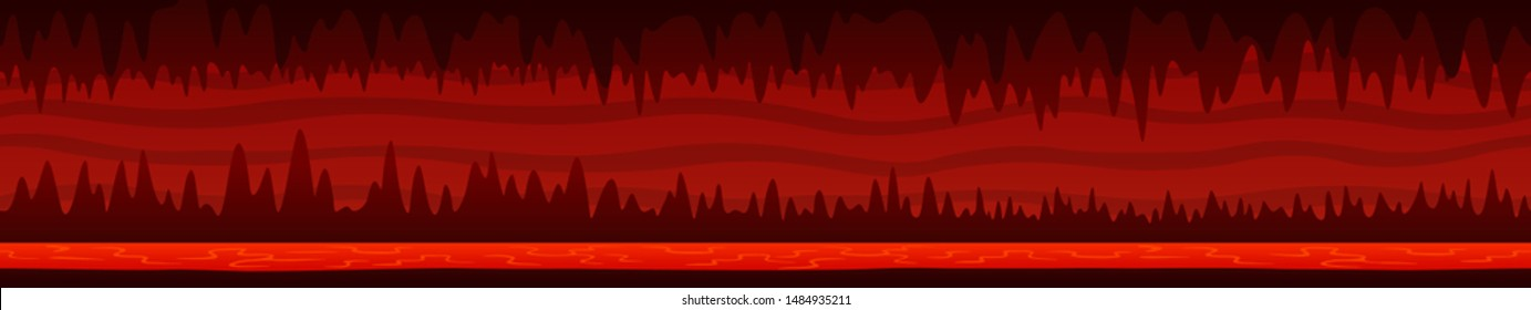 Beautiful unending cartoon red underground landscape with dark hell cave and lava river