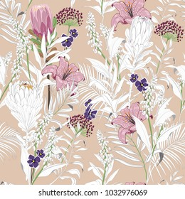 Beautiful unfinished garden flowers outline in hand sketch and drawing ,many kind of floral in seamless pattern vector illustration on pastel brush pink