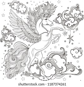 A beautiful unicorn among the clouds. hand-drawn. Black and White. For coloring. Vector