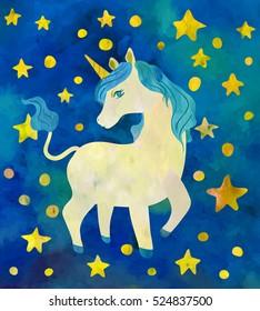 Beautiful unicorn among stars. Vector watercolor.